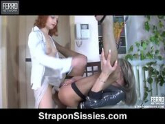 Rita and Donald strapon sissysex action