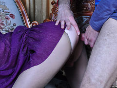 Red-haired sissy guy gives head and gets his eager ass plowed thru tights