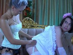 Cute sissy in a fancy gown and gloves getting roughly butt fucked by a lady