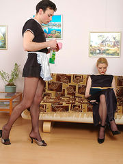 Salacious sissy French maid bobs up and down on babe