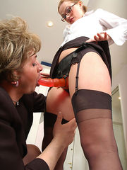 Nasty babe and sissy guy savoring strap-on from-behind bout right in office