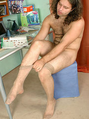 Strong muscular dude encasing his mighty cock in flesh-colored pantyhose