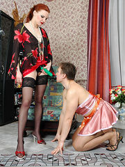Sissy maid putting aside dusting crying out for strap-on frenzy with cutie